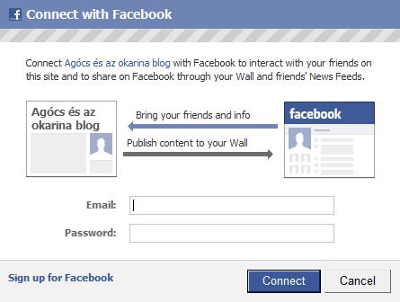 Facebook Connect bejelentkezés